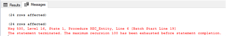 SQL Server CTE Recursion Error