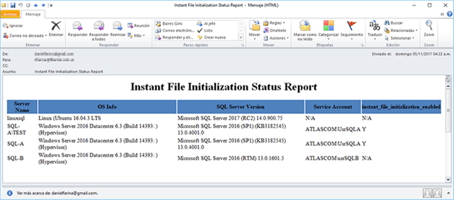 Instant File Initialization Status Report - Description: This is how it looks the report on your mailbox.