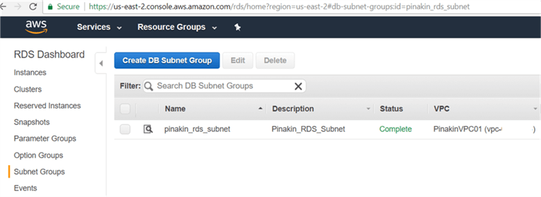 On Subnet Groups page newly created subnet groups will appear and status shown as complete. - Description: On Subnet Groups page newly created subnet groups will appear and status shown as complete.