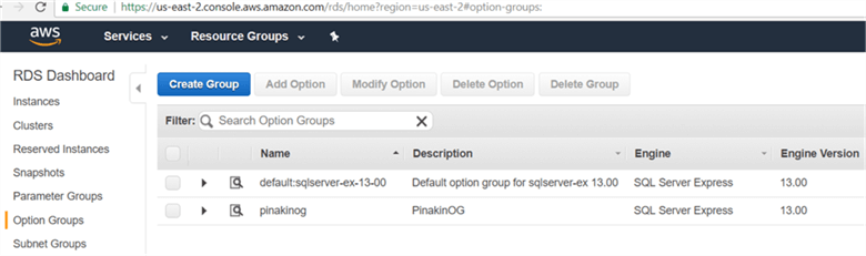On option Groups page newly created option groups will appear shown below. - Description: On option Groups page newly created option groups will appear shown below.