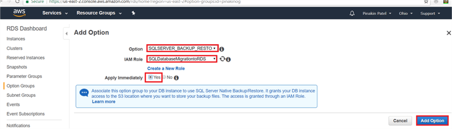 On Add option dialog box, select SQLServer_Backup_Restore from drop down menu and select the IAM role and check apply immediately Yes, to apply the changes immediately and click Add option. - Description: On Add option dialog box, select SQLServer_Backup_Restore from drop down menu and select the IAM role and check apply immediately Yes, to apply the changes immediately and click Add option.