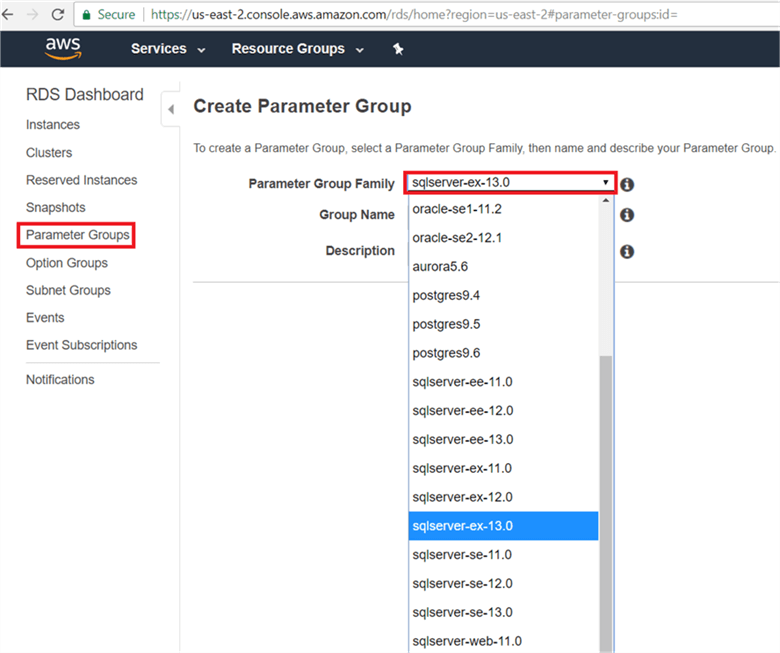 On the Parameter Group page, select parameter group family from drop down menu, give the group name and description and click Create. - Description: On the Parameter Group page, select parameter group family from drop down menu, give the group name and description and click Create.