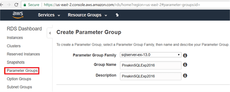 On the Parameter Group page, I have selected sqlserver-ex-13 (SQL server 2016 express edition) - Description: On the Parameter Group page, I have selected sqlserver-ex-13 (SQL server 2016 express edition)
