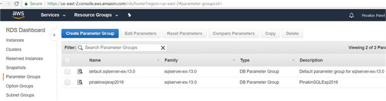 On Parameter Groups page newly created parameter group will appear shown below. - Description: On Parameter Groups page newly created parameter group will appear shown below.