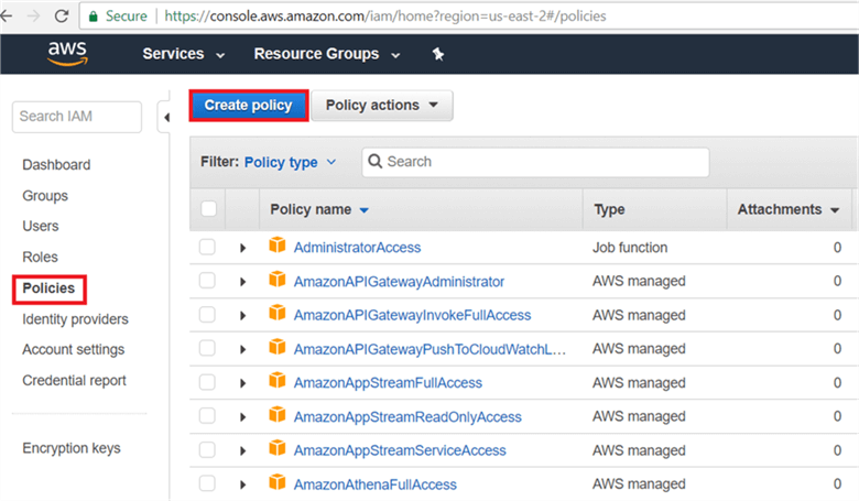On Policies page, click Create Policy. - Description: On Policies page, click Create Policy.