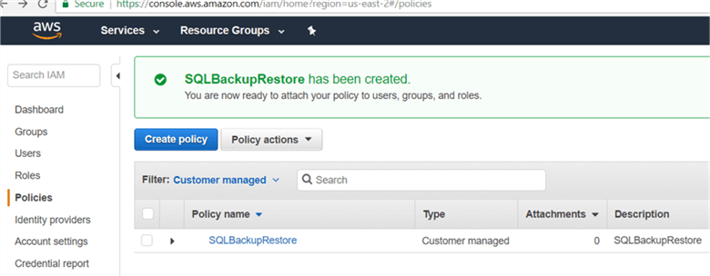 On Policies page newly customer managed policy will appear shown below. - Description: On Policies page newly customer managed policy will appear shown below.