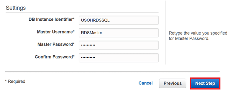 On the Select Engine dialog box, put the DB instance identifier, master username and password and click Next.  - Description: On the Select Engine dialog box, put the DB instance identifier, master username and password and click Next.