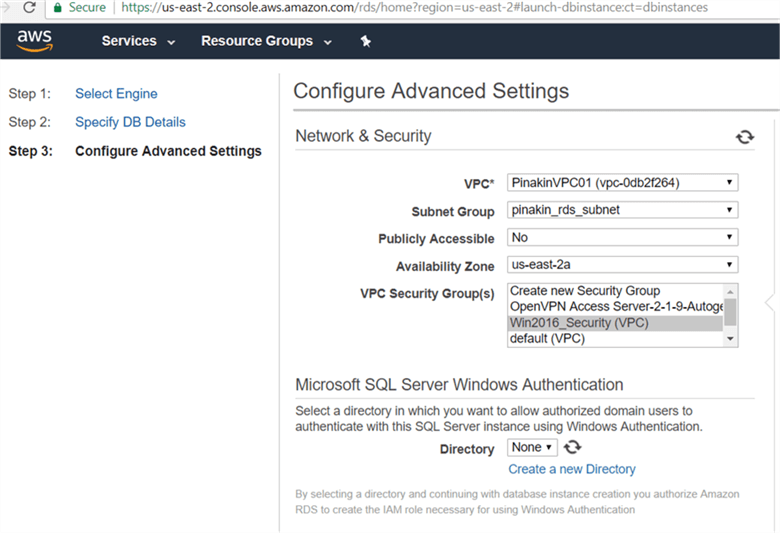 On Configure Advance setting section, select the VPC, Security group, availability zone. - Description: On Configure Advance setting section, select the VPC, Security group, availability zone.