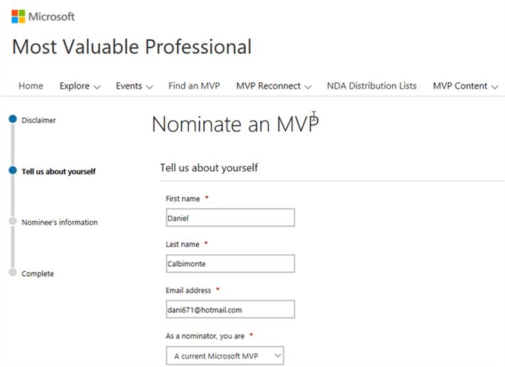 MVP Nominator Information