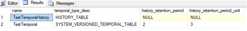 History retention information can be retrieved from sys.tables system table.