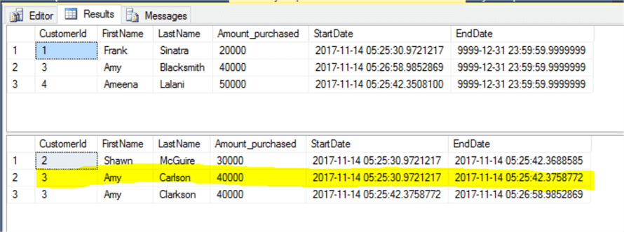 SQL Server Temporal Table query results 2