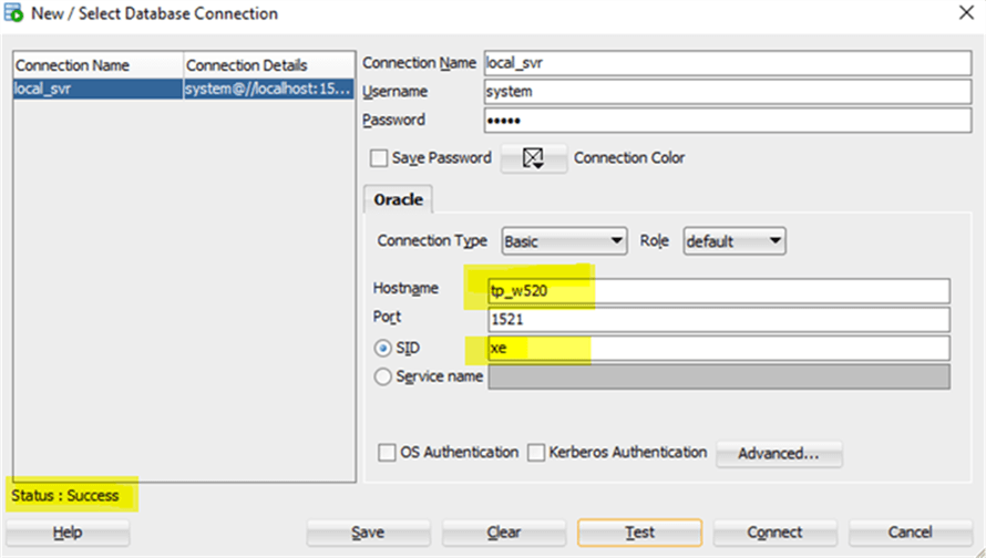 oracle_connection - Description: Connection information