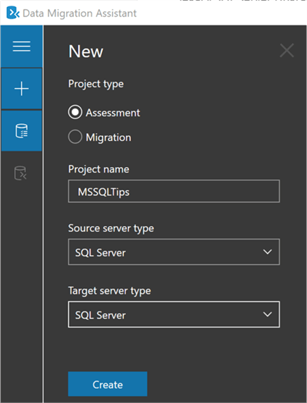 Create an assessment with the SQL Server Data Migration Assistant