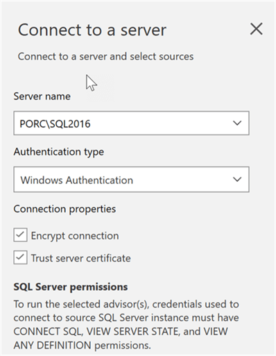 Connect to the source SQL Server to perform the assessment