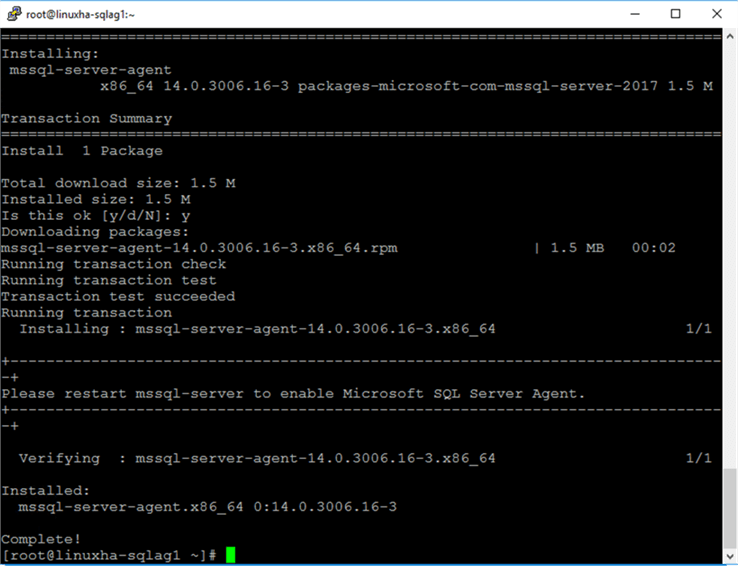 command to install SQL Server Agent on Linux