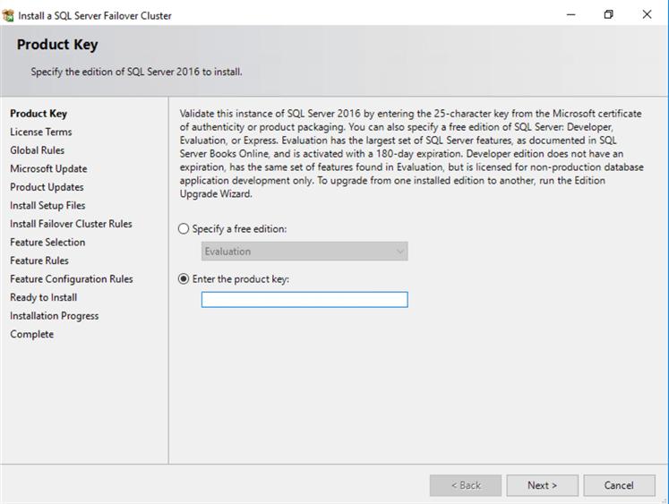 Installing SQL Server 2016 on a Windows Server 2016 Failover Cluster
