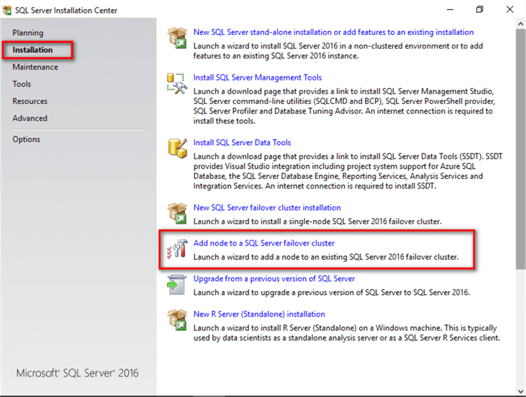 Installing SQL Server 2016 on a Windows Server 2016 Failover