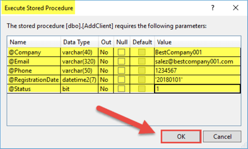 execute stored procedure