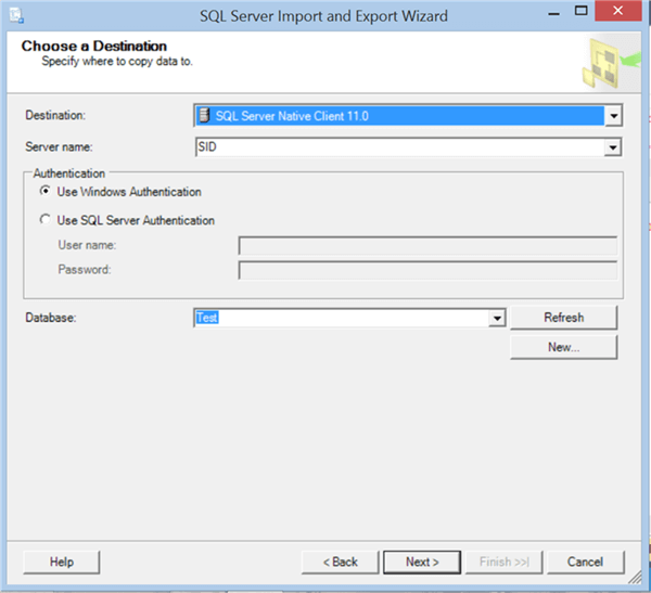 Select the server and database to import the data