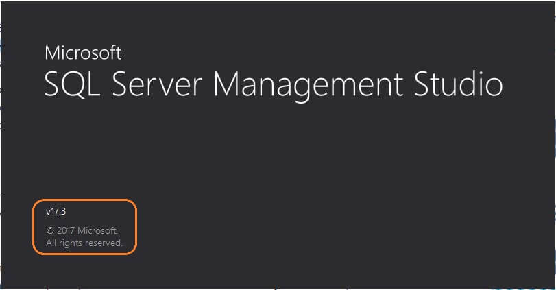 SQL Server v17.3 Management Studio startup screen