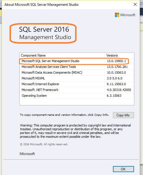 SQL Server 2016 Management Studio Properties