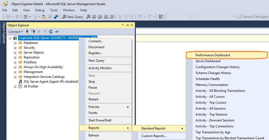 SQL Server v17.x Management Studio Performance Dashboard Reports