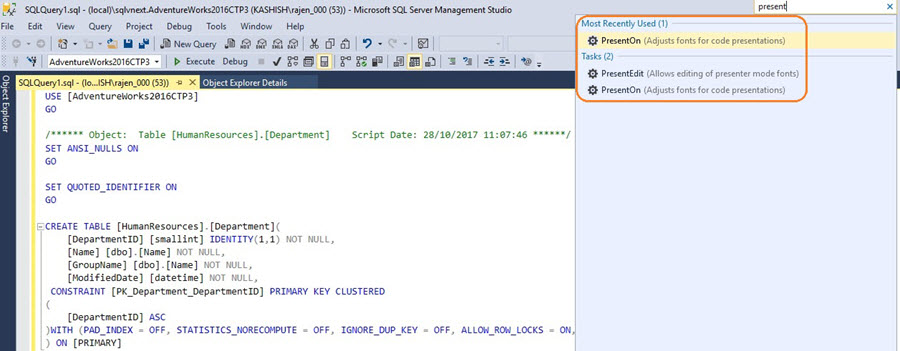 SQL Server v17.x Management Studio Presenter Mode option