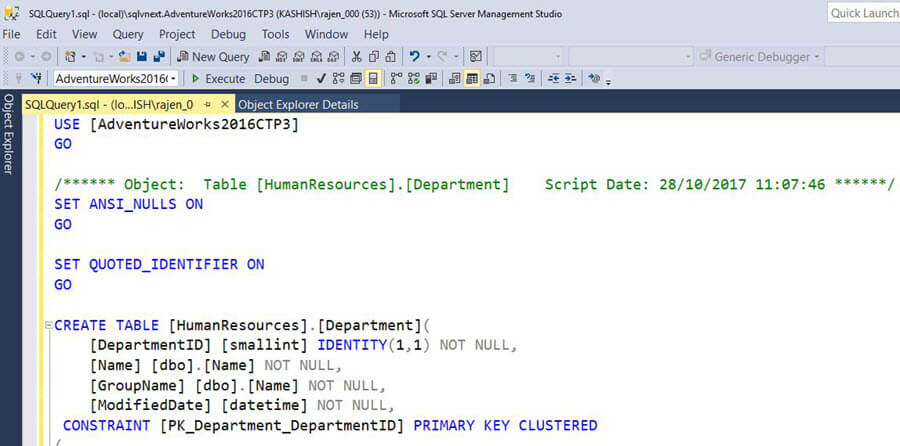 SQL Server v17.x Management Studio Presenton Mode output is set to a large font