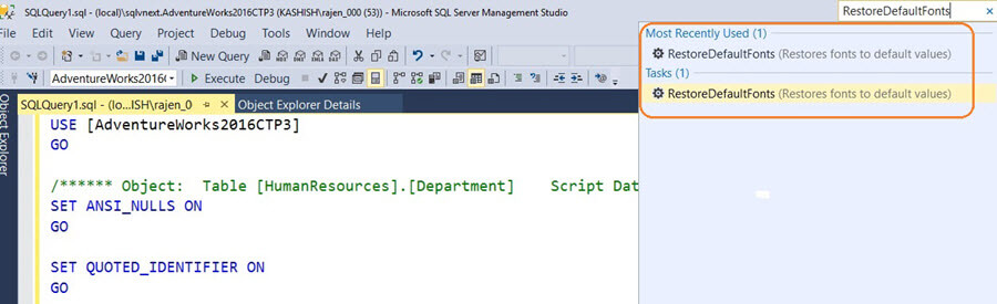 SQL Server v17.x  Management Studio revert back to default mode from presentation option