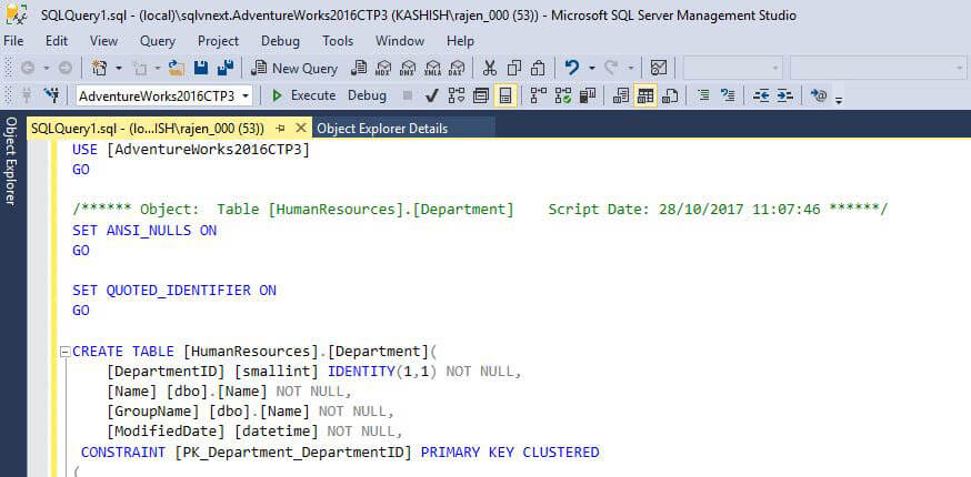 SQL Server v17.x  Management Studio revert back to default mode from presenton output