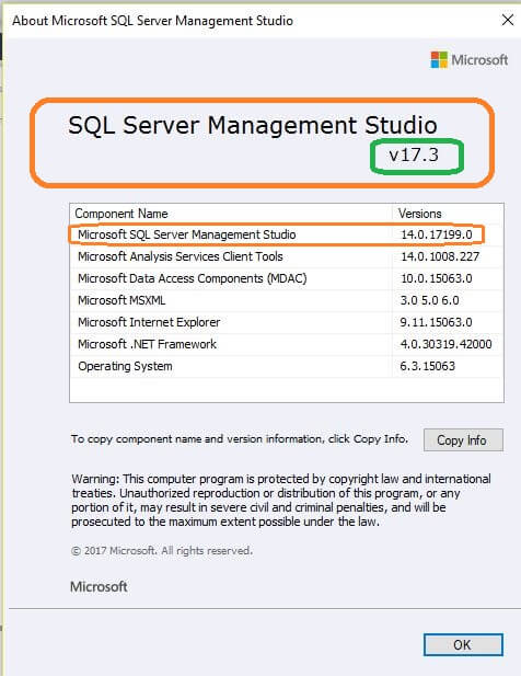 SQL Server v17.3 Management Studio Properties