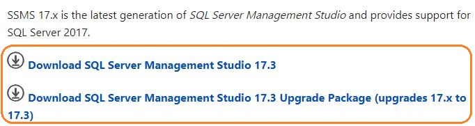 SQL Server v17.x Management Studio Installation options