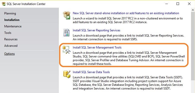 SQL Server 2017 Installation Center