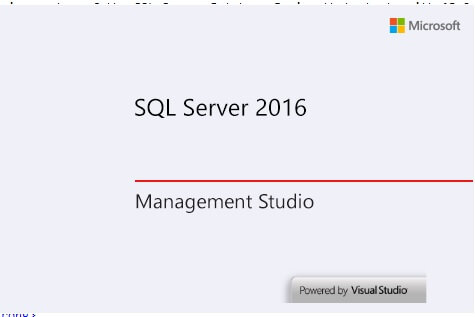 SQL Server 2016 Management Studio start up screen