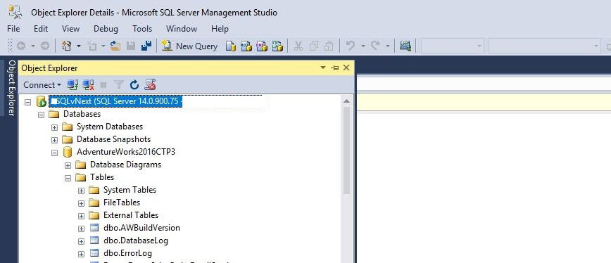 SQL Server 2016 Management Studio icons