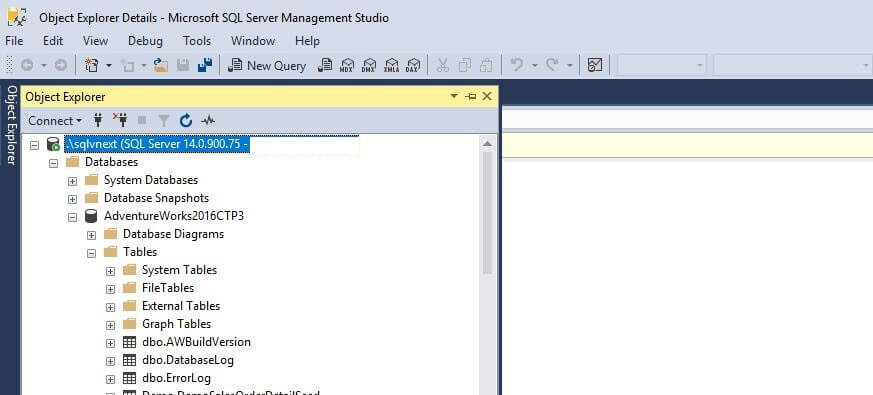 SQL Server v17.3 Management Studio icons