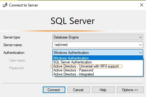 SQL Server v17.3 Management Studio authentication options