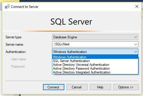 SQL Server 2016 Management Studio authentication options