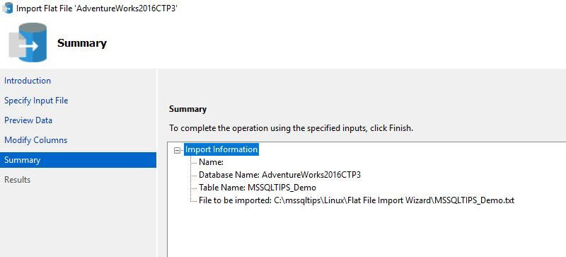 Summary of Tasks for the Import Flat File Wizard in SQL Server Management Studio