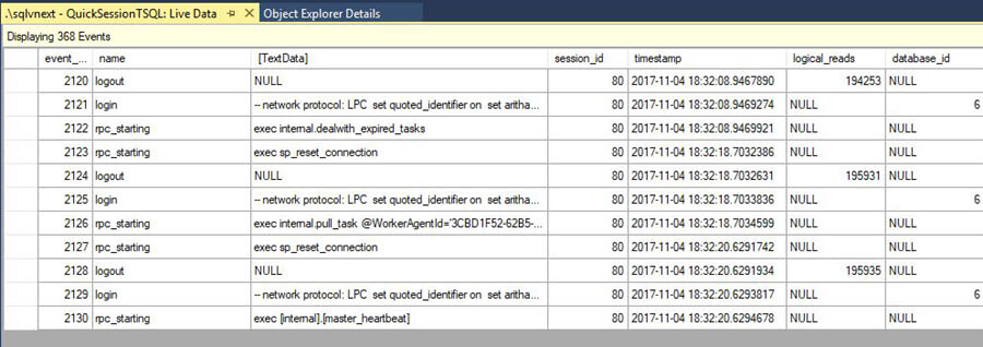 Outout after Add more columns in output of the Xevent profiler