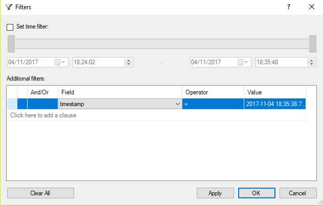 Filter result sets in Xevent profiler