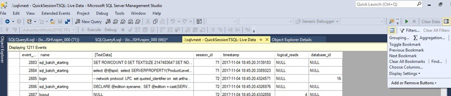 options for Bookmarks on statements in Xevent profiler