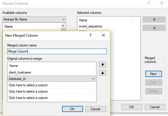 Define Merged columns in Xevent profiler