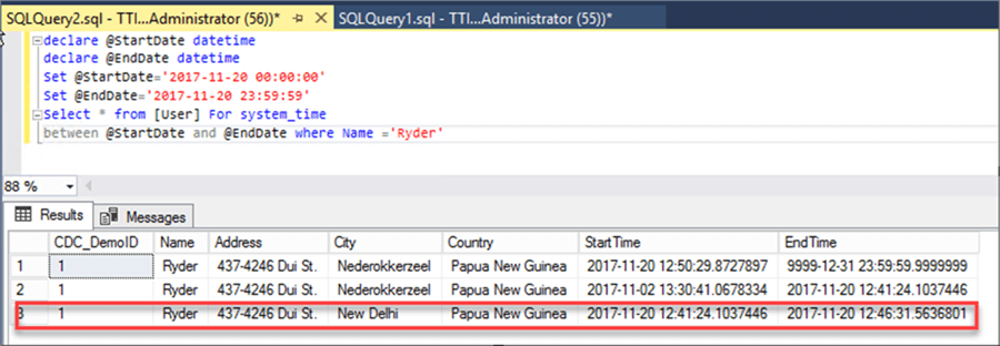 Output of User table at specific point of time - Description: Screen Clipping