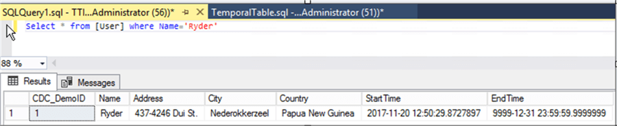 Output of User table which has recovered record - Description: Screen Clipping