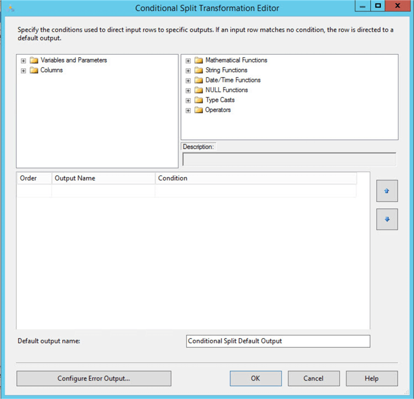 ssis conditional split editor