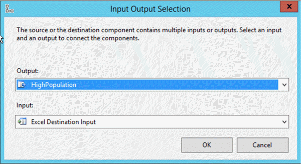 ssis input outpu selection