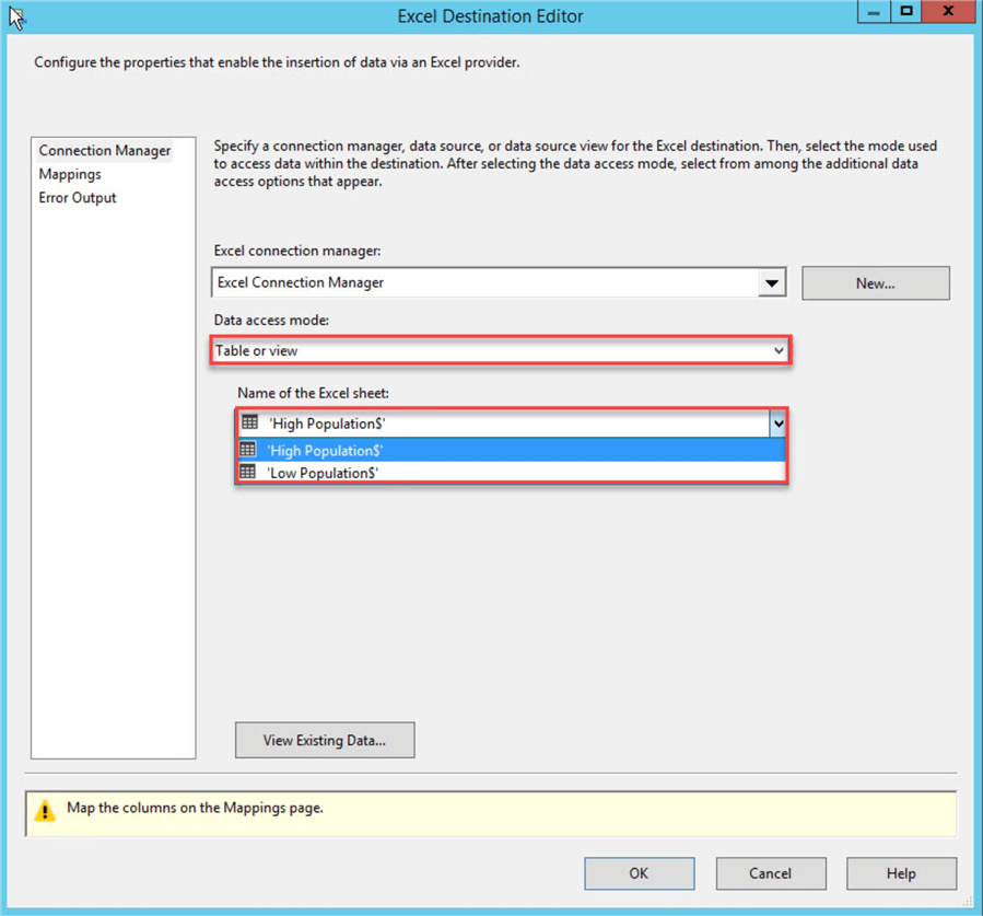 ssis excel destination editor