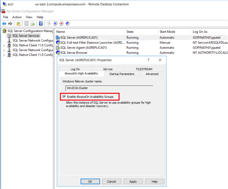 enable always on in sql server configuration manager