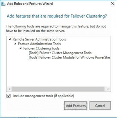 the Add features that are required for Failover Clustering dialog box